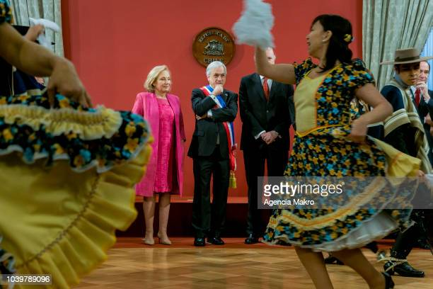 President of Chile Sebastián Piñera and the First Lady Cecilia Morel observe the traditional Esquinazo during celebrations of Independence Day at the...