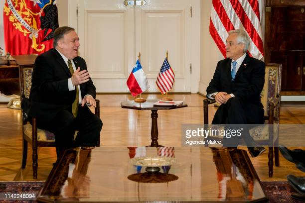 President of Chile Sebastián Piñera and US Secretary of State Mike Pompeo speak during a meeting at the Palacio de La Moneda as part of a South...