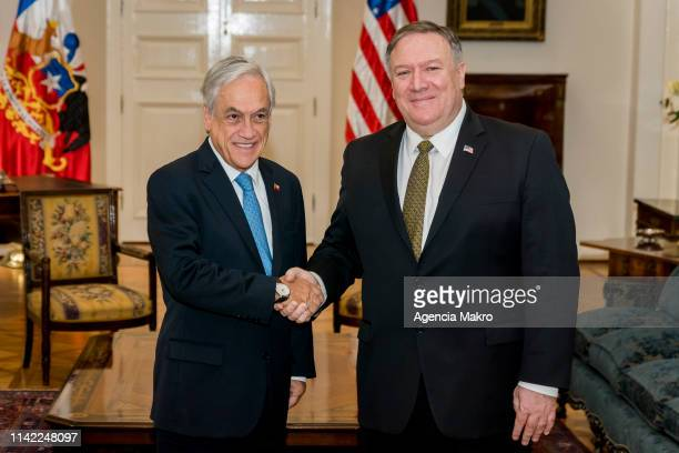 President of Chile Sebastián Piñera and US Secretary of State Mike Pompeo shake hands during a meeting at the Palacio de La Moneda as part of a South...