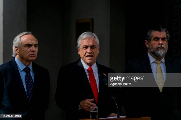 President of Chile Sebastián Piñera delivers a statement along with Interior and Public Security Minister Andrés Chadwick and the Undersecretary of...