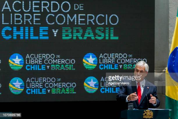 President of Chile Sebastián Piñera gives a speech after the signing of a Free Trade Agreement between Brazil and Chile at the Palacio de la Moneda...