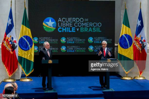 President of Chile Sebastián Piñera gives speech joined by President of Brazil Michel Temer after the signing of a Free Trade Agreement between both...