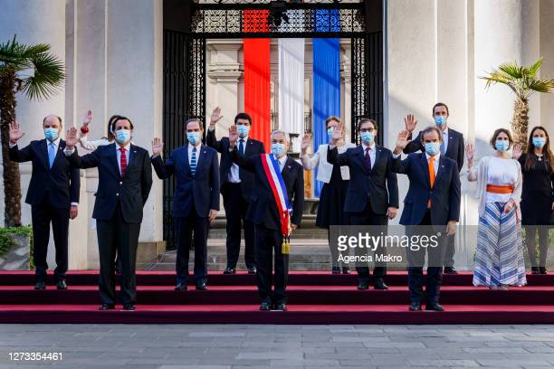 President of Chile Sebastián Piñera leads the official family photo with the Cabinet of Ministers during the Independence Day celebrations as part of...