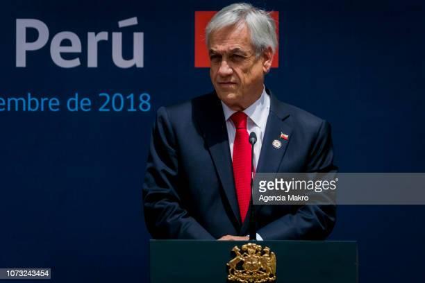 President of Chile Sebastián Piñera looks on after the II Binational Cabinet ChilePeru at the Palacio de La Moneda on November 27 2018 in Santiago...