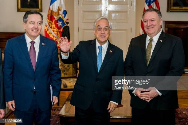 President of Chile Sebastián Piñera Minister of Foreign Affairs of Chile Roberto Ampuero and US Secretary of State Mike Pompeo during a working...