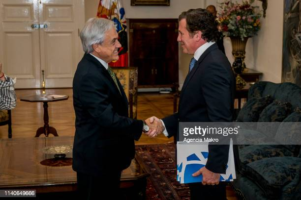 President of Chile Sebastián Piñera receives in audience the President of CONMEBOL Alejandro Domínguez on April 05 2019 in Santiago Chile