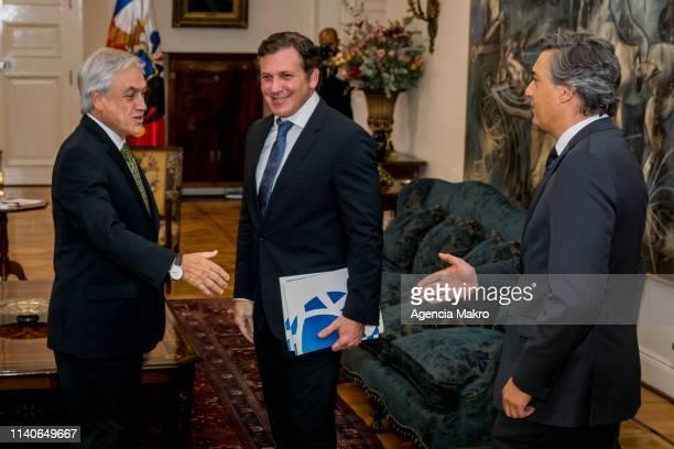 President of Chile Sebastián Piñera receives in audience the President of CONMEBOL Alejandro Domínguez and the President of ANFP Sebastián Moreno on...