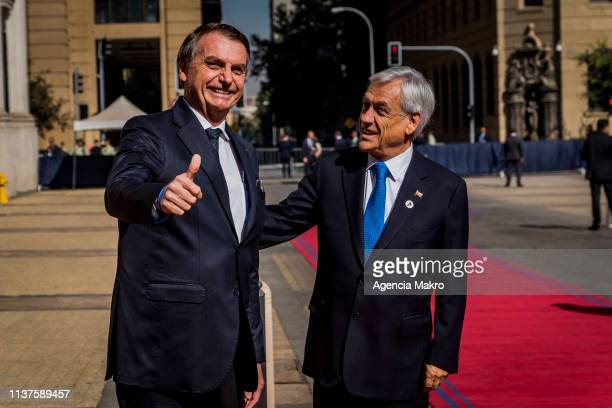 President of Chile Sebastián Piñera receives the President of Brazil Jair Bolsonaro prior to the meeting of Presidents of South America also called...