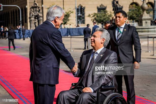 President of Chile Sebastián Piñera shakes hands with the President of Ecuador Lenín Moreno to begin the meeting of Presidents of South America also...