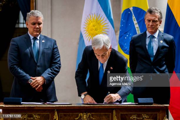 President of Chile Sebastián Piñera signs the agreement of Santiago after the Meeting of Presidents of South America also called ProSur on March 22...