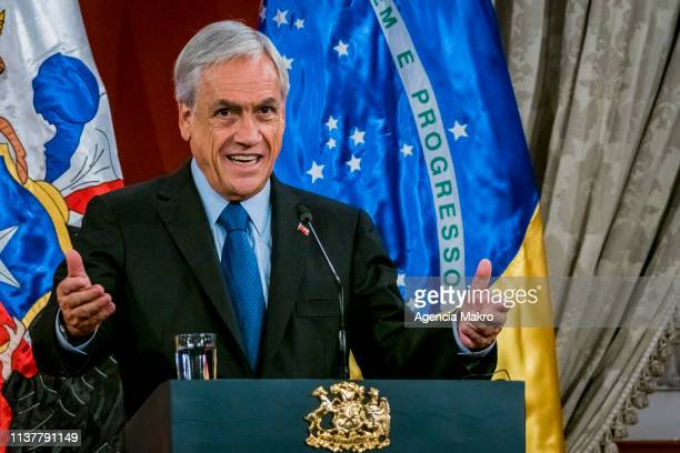President of Chile Sebastián Piñera speaks after a bilateral meeting at the Palacio de La Moneda on March 23 2019 in Santiago Chile