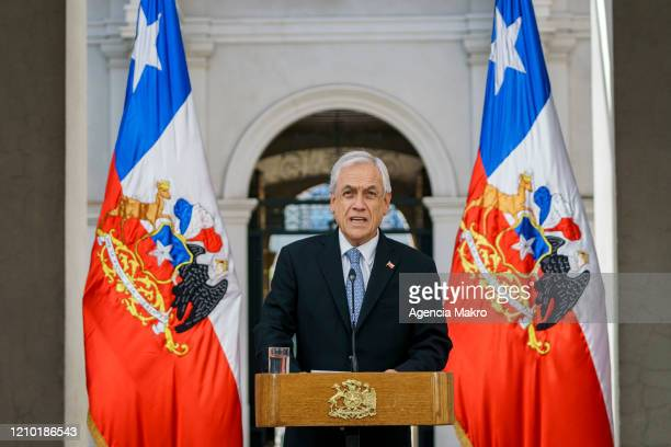 President of Chile Sebastián Piñera speaks during a press conference to confirm the first case of COVID19 Coronavirus in Chile at Palacio de la...