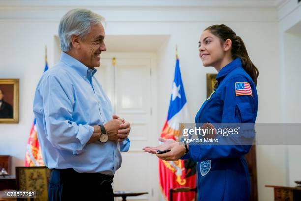President of Chile Sebastián Piñera talks with Alyssa Carson an aspiring astronaut who is preparing for an eventual manned mission to Mars during a...