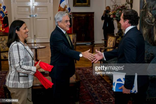 President of Chile Sebastián Piñera together with the Minister of Sport Pauline Kantor receives in audience the President of CONMEBOL Alejandro...