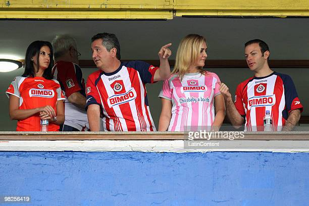 President of Chivas Jorge Vergara and Angelica Fuentes watch the match between Chivas Guadalajara v America as part of the 2010 Bicentenary...