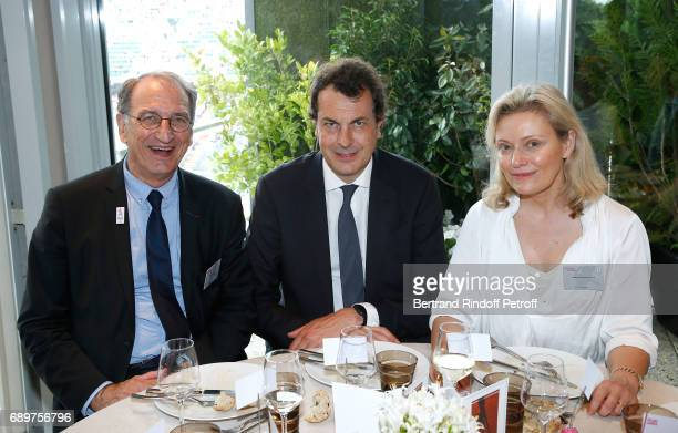 President of CNOF Denis Masseglia Laurent Eric Le Lay and President of the French Professional football league Nathalie Boy de la Tour attend the...