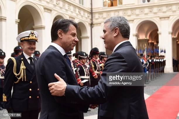 President of Colombia Ivan Duque meets with Italian Prime Minister Giuseppe Conte during his visit at Chigi Palace in Rome Italy on October 22 2018