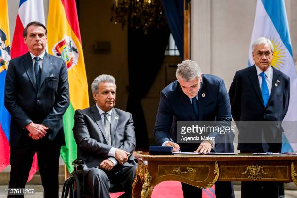 President of Colombia Iván Duque signs the agreement of Santiago after the end of the Meeting of Presidents of South America also called ProSur on...