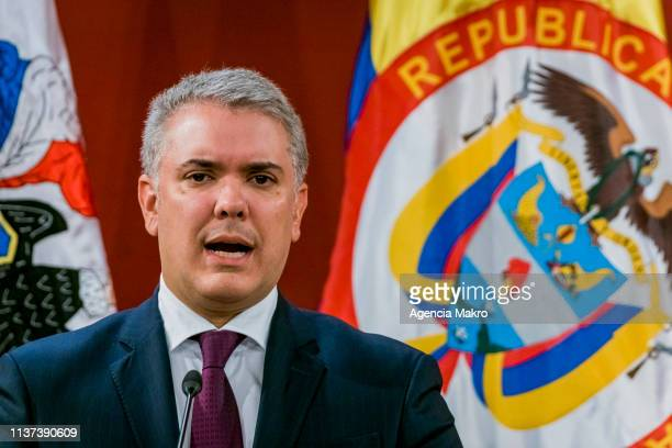 President of Colombia Iván Duque speaks after a bilateral meeting at the Palacio de La Moneda on March 21 2019 in Santiago Chile