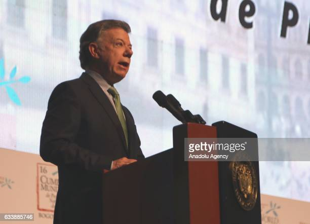 President of Colombia Juan Manuel Santos delivers a speech during the closing ceremony of the 16th Summit of Nobel Peace Laureates in Bogota Colombia...