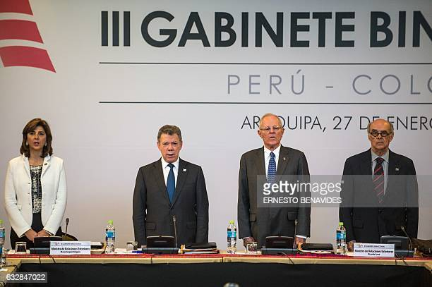 President of Colombia Juan Manuel Santos his Peruvian counterpart Pedro Pablo Kuczynskyi Peru's Foreign Affairs Minister Ricardo Luna and his...