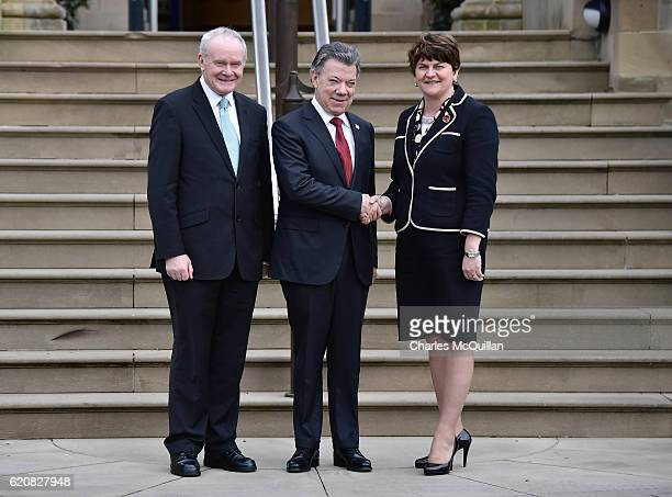 President of Colombia, Juan Manuel Santos is greeted at Stormont Castle by Northern Ireland First Minister Arlene Foster and Deputy First Minister...