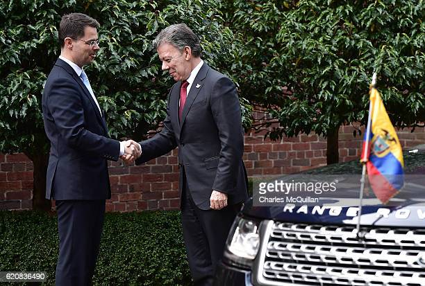 President of Colombia Juan Manuel Santos is greeted at Stormont House by Northern Ireland Secretary of State James Brokenshire on November 3 2016 in...