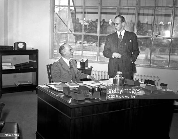 President of Columbia Records Corp Edward Wallerstein is photographed with CB Wikoff the new treasurer of Columbia Records Corp Image dated March 1...
