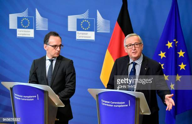 President of Commission Jean Claude Juncker gives a joint press conference with German Foreign minister Heiko Maas after their bilateral meeting on...