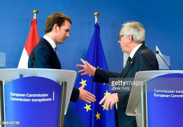 President of Commission JeanClaude Juncker and Sebastian Kurz give a joint press after their meeting at the EU headquarters in Brussels on June 6 2018