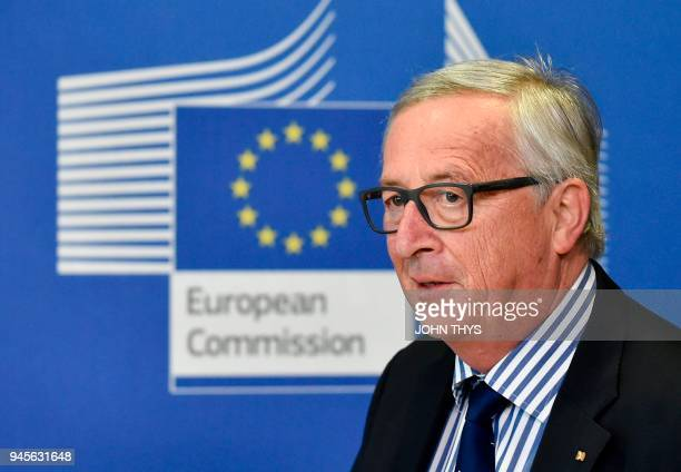 President of Commission JeanClaude Juncker arrives before a joint press conference with German Foreign minister after to their bilateral meeting on...