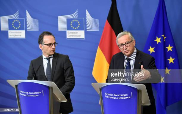 President of Commission JeanClaude Juncker gives a joint press conference with German Foreign minister Heiko Maas after their bilateral meeting on...