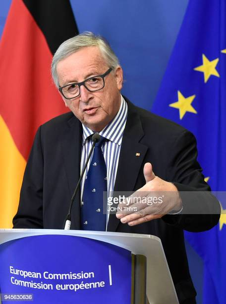 President of Commission JeanClaude Juncker gives a joint press conference with German Foreign minister after their bilateral meeting on April 13 2018...
