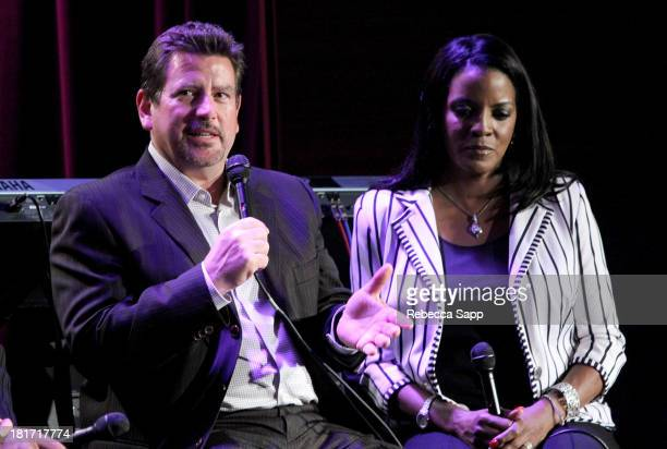 President of Concord Music Group John Burk and President of the Ray Charles Foundation Valerie Ervin speak onstage at Ray Charles Tribute at The...