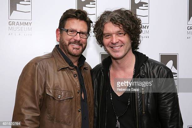 President of Concord Records John Burk and musician Doyle Bramhall II attend An Evening With Doyle Bramhall II at The GRAMMY Museum on January 11...