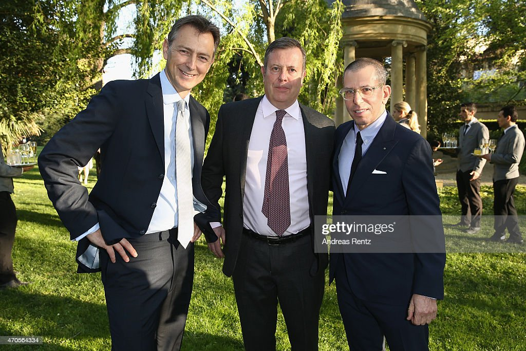 President of Conde' Nast Asia-Pacific James Woolhouse, Jamie Bill, Executive Director of Conde' Nast Globel Development and Jonathan Newhouse, Chairman & Chief Executive, Conde Nast International attend the Conde' Nast International Luxury Conference Welcome Reception at Four Seasons Hotel Firenze on April 21, 2015 in Florence, Italy.