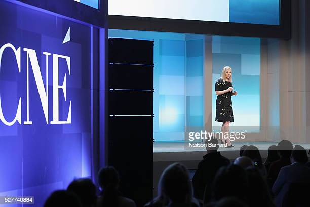 President of Conde Nast Entertainment Dawn Ostroff speaks during the Conde Nast Entertainment Digital Content NewFronts on May 3 2016 at Cipriani in...
