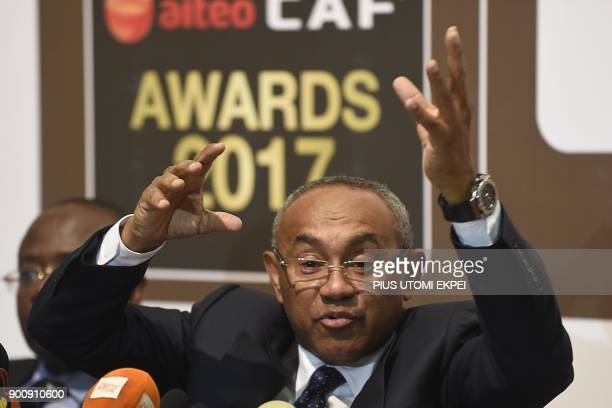 President of Confederation of African Football Ahmad Ahmad speaks during a press conference on the eve of the Confederation of African Football...