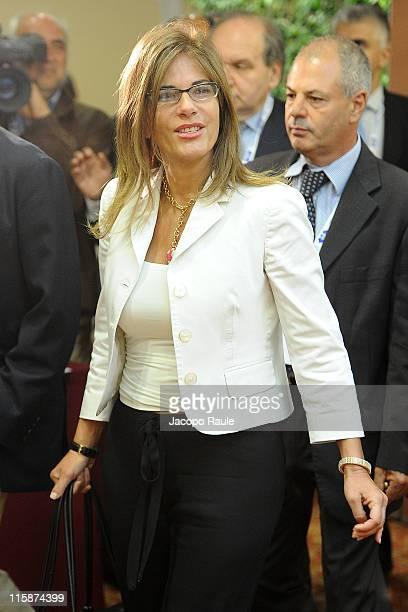 President of Confindustria Emma Marcegaglia attends 41st Santa Margherita Ligure Congress on Jun 11 2011 in Santa Margerita Ligure Italy...