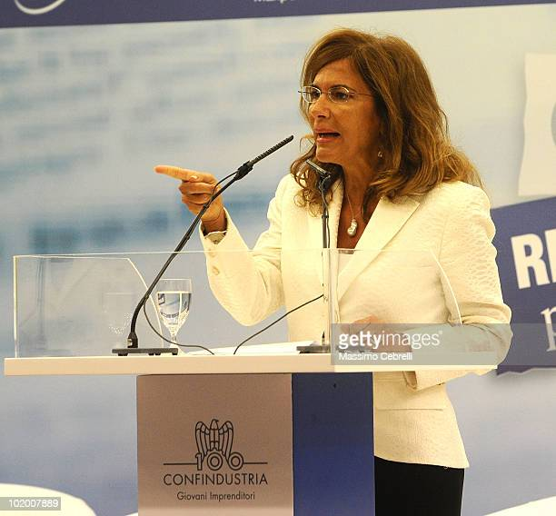 President of Confindustria Emma Marcegaglia gives a speech during the 40th Santa Margherita Ligure Congress at the Grand Hotel Miramare on June 12...