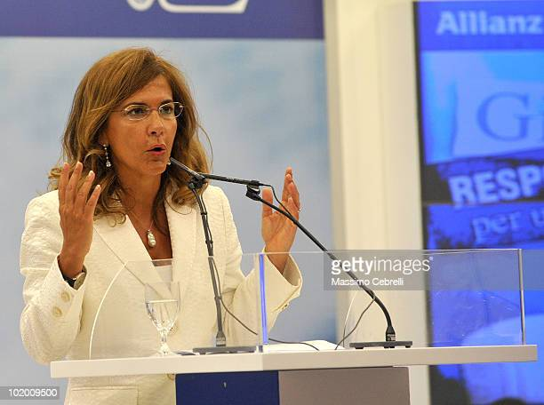 President of Confindustria Emma Marcegaglia gives a speech during the 40th Santa Margherita Ligure Congress at the Grand Hotel Miramare on June 12,...