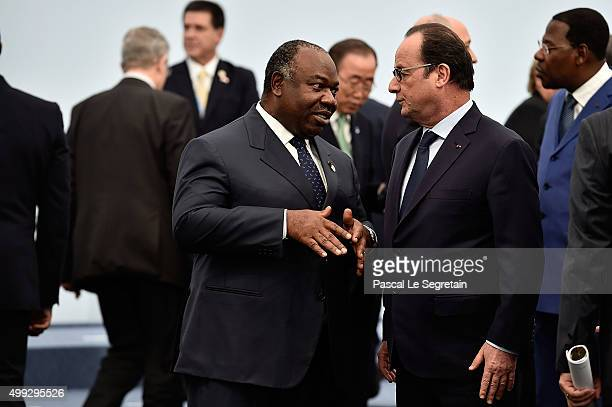 President of Congo Ali Bongo Ondimba and French President Francois Hollande attend the family photo session of the Cop 21 on November 30 2015 in...