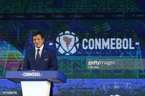 President of CONMEBOL Alejandro Dominguez speaks during the draw for the 2019 edition of Copa CONMEBOL Libertadores and Sudamericana at Bourbon Hotel...