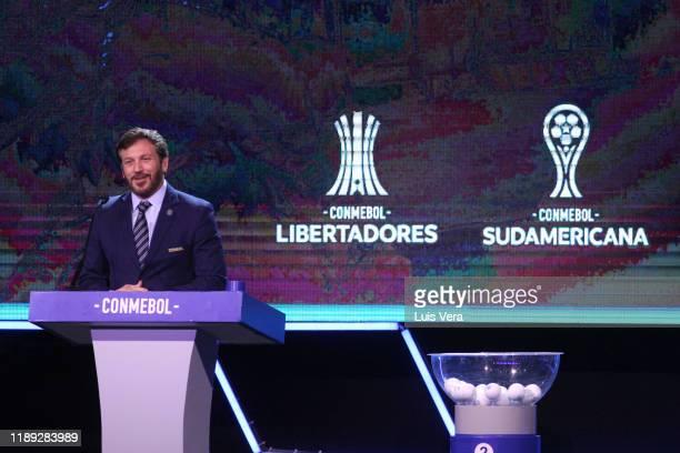 President of CONMEBOL Alejandro Dominguez speaks during the draw for the Copa CONMEBOL Libertadores and Sudamericana 2020 at Centro de Convenciones...