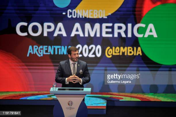 President of CONMEBOL Alejandro Dominguez speaks during the draw for Copa America 2020 cohosted by Argentina and Colombia at Centro de Convenciones...