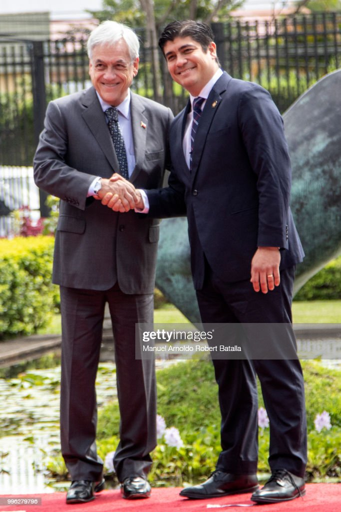 President of Costa Rica Carlos Alvarado greets President of Chile Sebastian Pinera during a welcoming ceremony as part of an Official Visit to Costa Rica at the Presidential House on July 9, 2018 in San Jose, Costa Rica.
