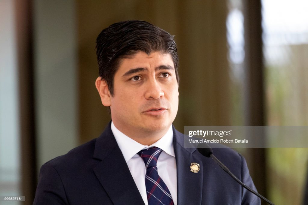 President of Costa Rica Carlos Alvarado speaks during a press conference as part of Sebastian Piñera President of Chile Official Visit to Costa Rica at the Presidential House on July 9, 2018 in San Jose, Costa Rica.