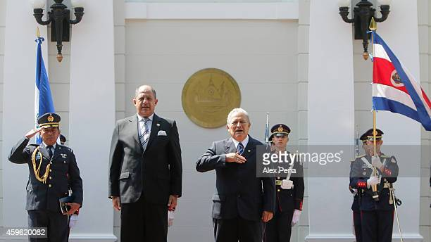 President of Costa Rica Luis Guillermo Solis and President of El Salvador Salvador Sanchez Ceren during an official visit of Solis to El Salvdor at...
