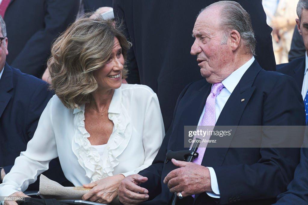 President of COTEC Foundation Cristina Garmendia and King Juan Carlos attend COTECT event at the Vicente Calderon Stadium on June 12, 2017 in Madrid, Spain.