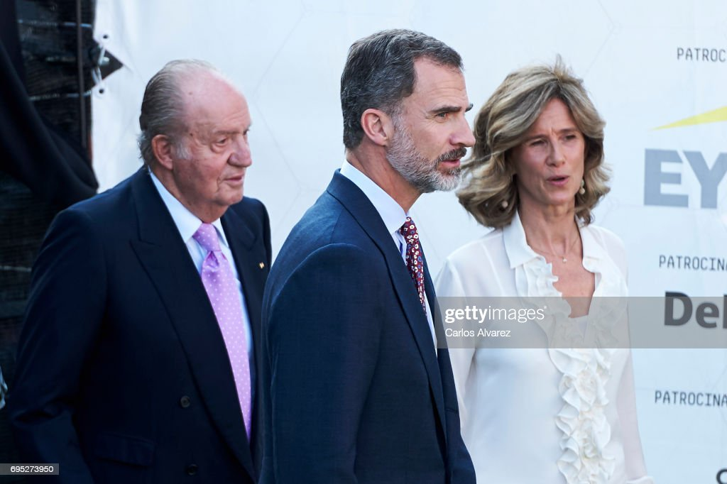 President of COTEC Foundation Cristina Garmendia (R) King Juan Carlos (L) and King Felipe VI of Spain (C) attend COTECT event at the Vicente Calderon Stadium on June 12, 2017 in Madrid, Spain.